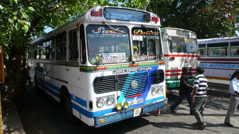Colorful buses in Colombo