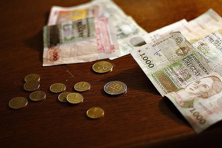 Uruguayan Pesos, cash, coins and notes.