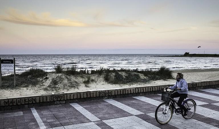 Cycling in Montevideo, Uruguay, around the promenade