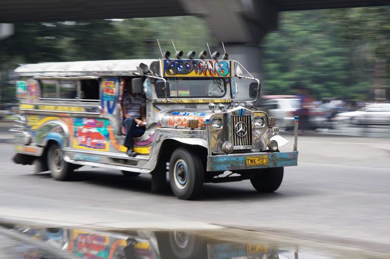 Filipino jeepney on the move