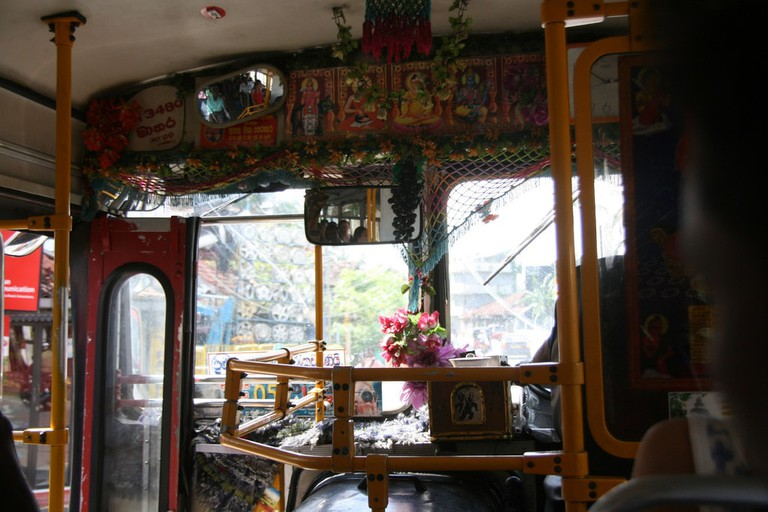 The inside of of a bus in Sri Lanka