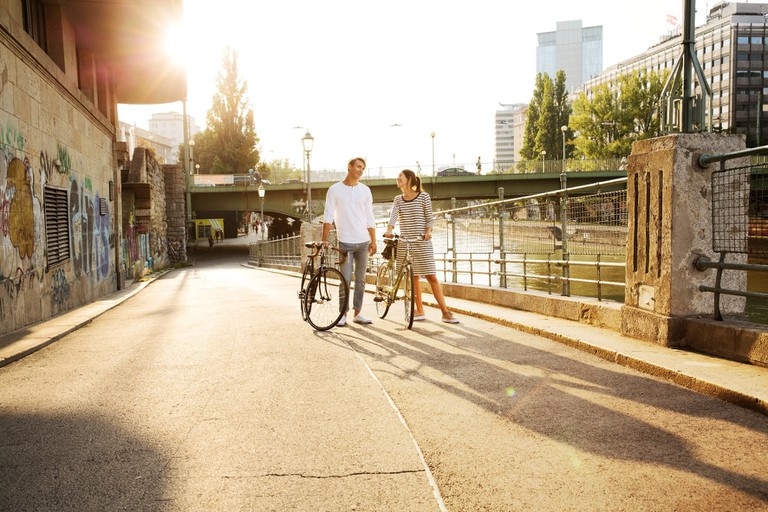 Couple on a cycle date in Vienna