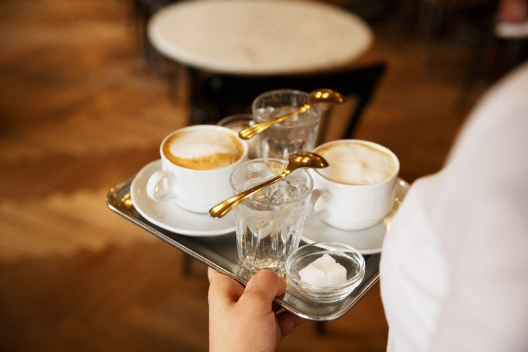 How a cup of coffee is typically served in Vienna