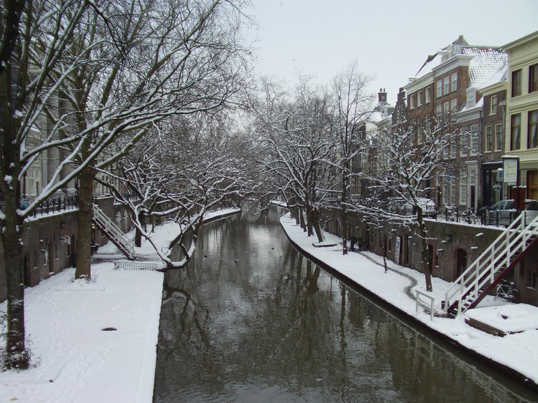 Utrecht Oudegracht canal in winter