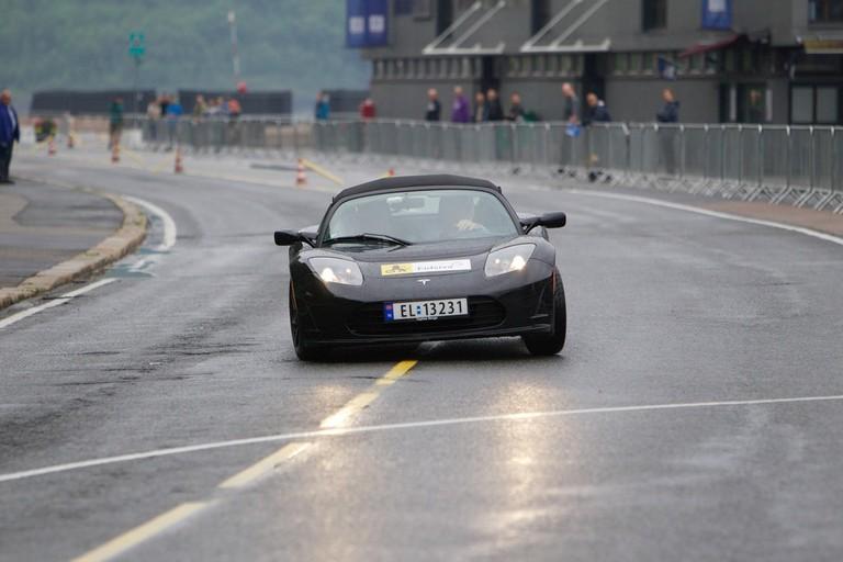 A Tesla car racing at Zero Rally in Oslo