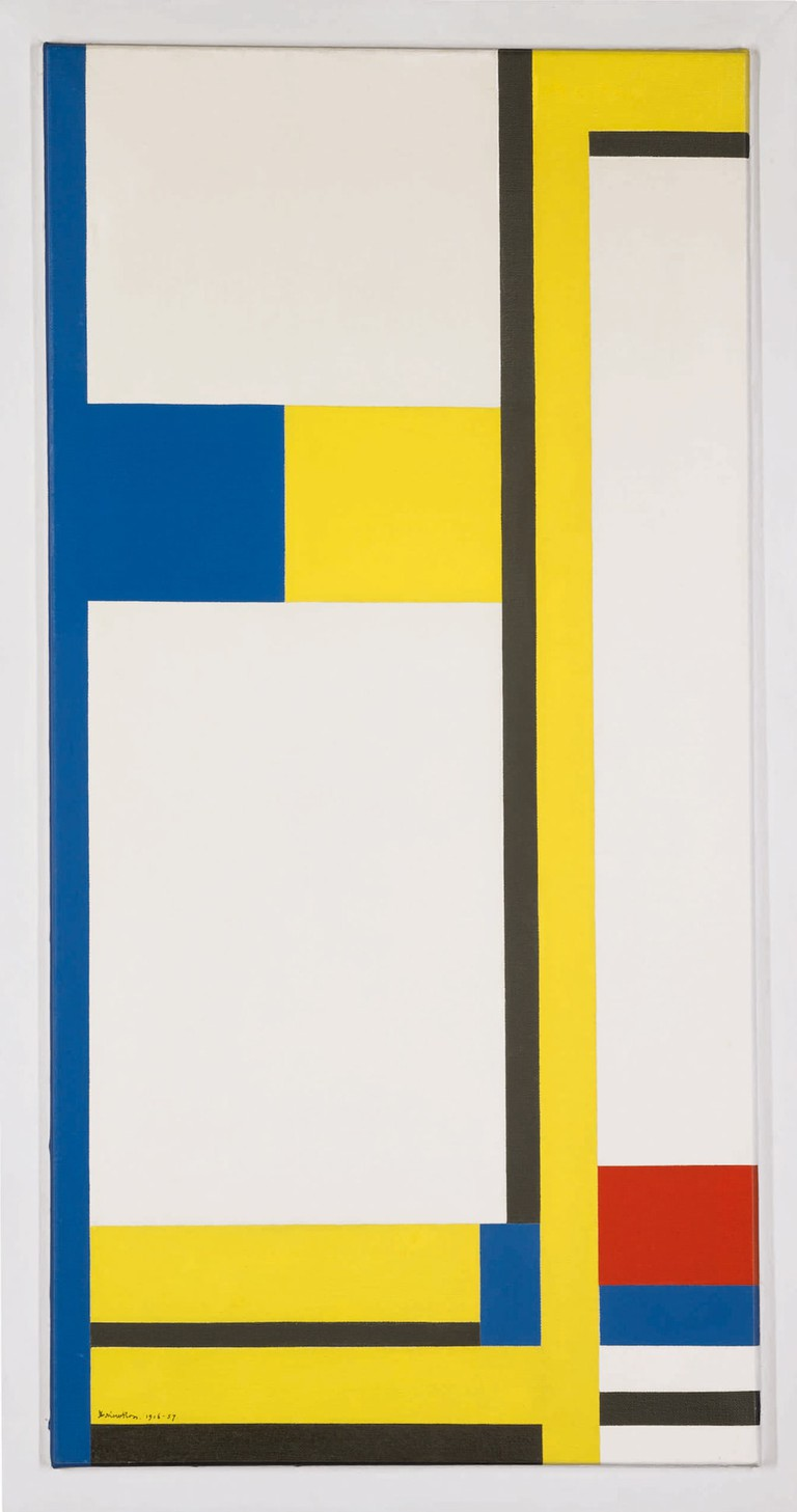 Marlow Moss, Composition Yellow, Blue, Black, Red And White. Signed Marlow Moss anddated1956-57 | Courtesy of Sotheby's New York.