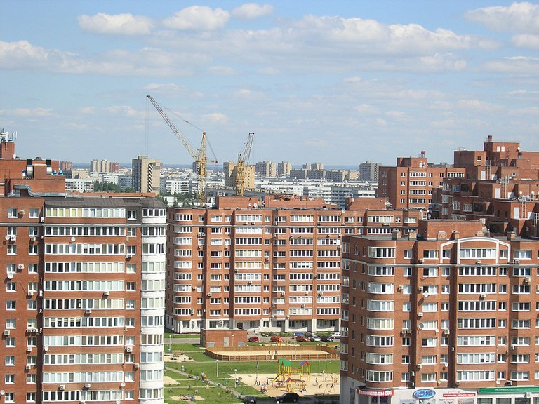 Typical landscape of a Russian residential district
