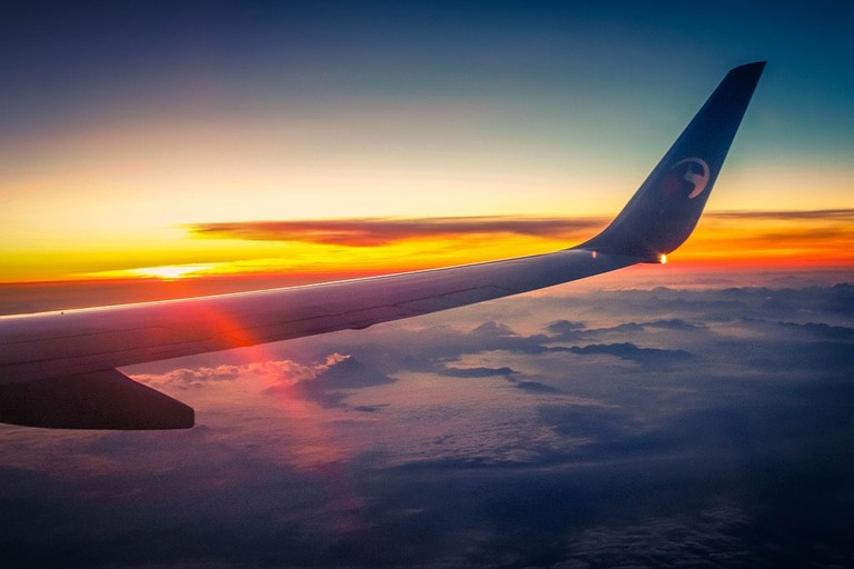 Wing View From Airplane Aircraft Heaven Sky Travel