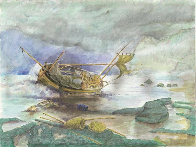 Djamel Ameziane, Shipwrecked Boat, 2016 | Courtesy of John Jay College of Criminal Justice.
