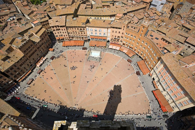 Piazza del Campo at Siena, view from Torre del Mangia at Palazzo Publico. Image shot 05/2009. Exact date unknown.