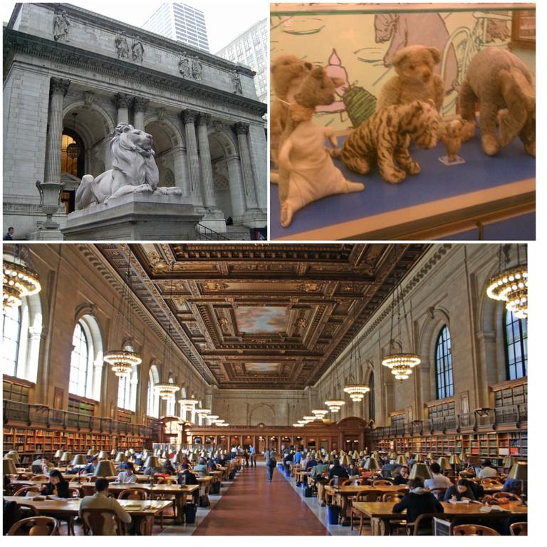 New York City Public Library front   © melanzane1013/Flickr / The original winnie the pooh dolls at nypl/ © Jennifer 8. Lee/Flickr / New York City Public Library - April 2009   © Julian Mason/Flickr