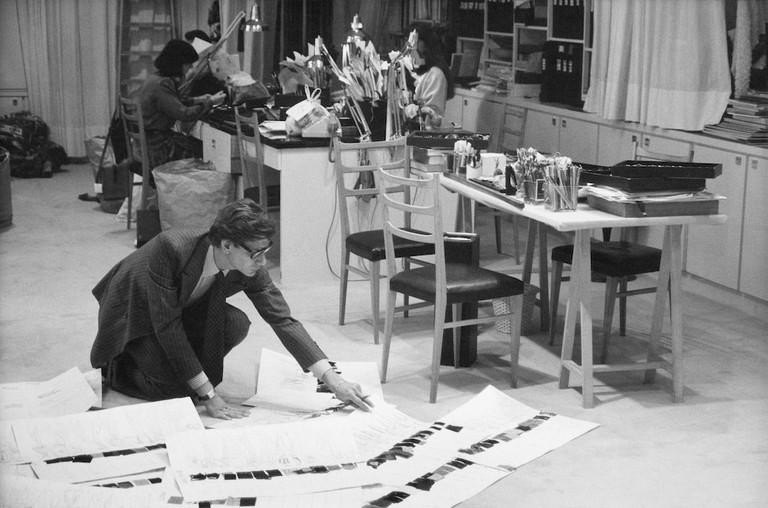 Yves Saint Laurent in his studio