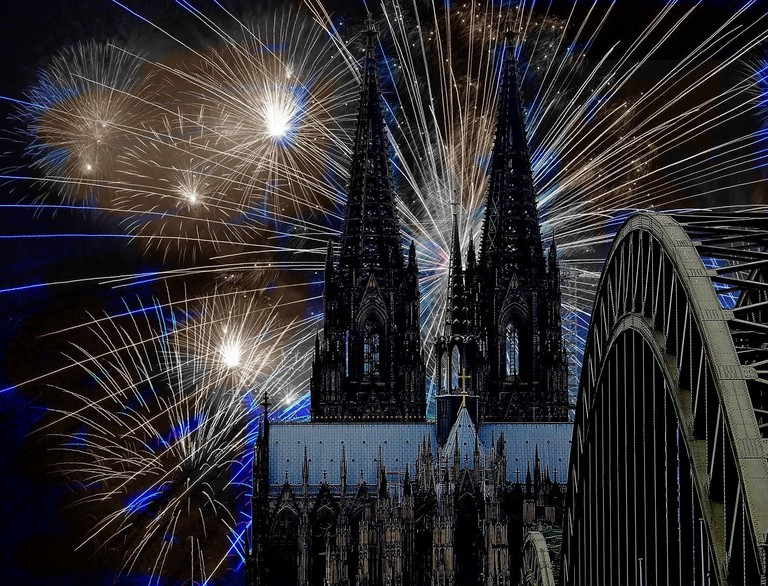 Fireworks at Cologne Cathedral