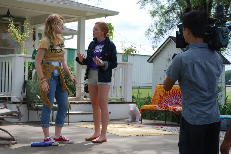 Hope Lauren and Emma Bell on location