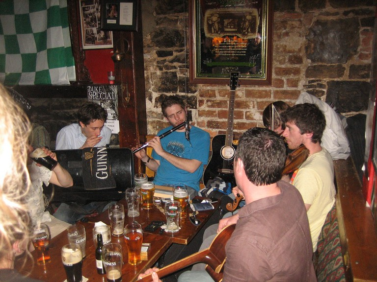 A trad session in Dolan's, Limerick
