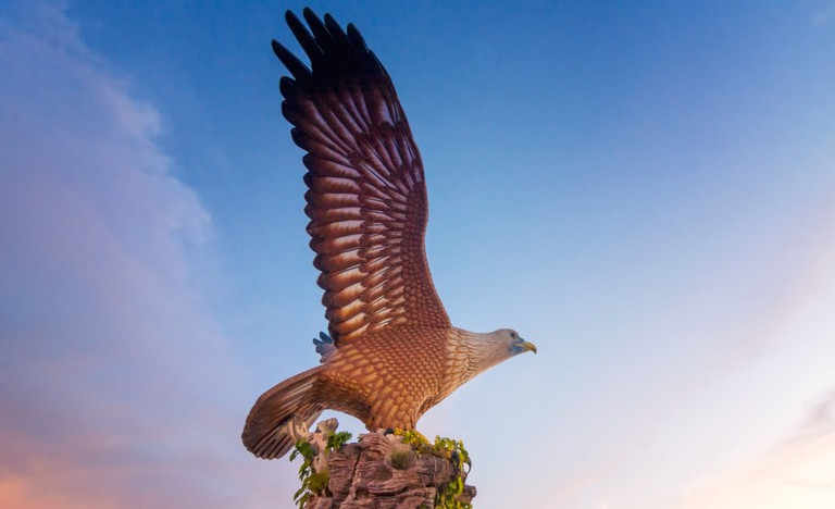 Eagle Statue welcomes travellers to Langkawi at Eagle Square