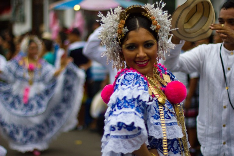 Panamanian woman wearing the Pollera dress