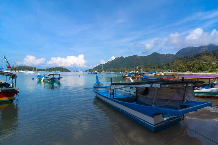 Fishing boats anchored at the bays of Langkawi