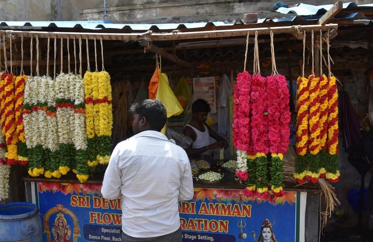 Flower Vendor at a market in Chennai