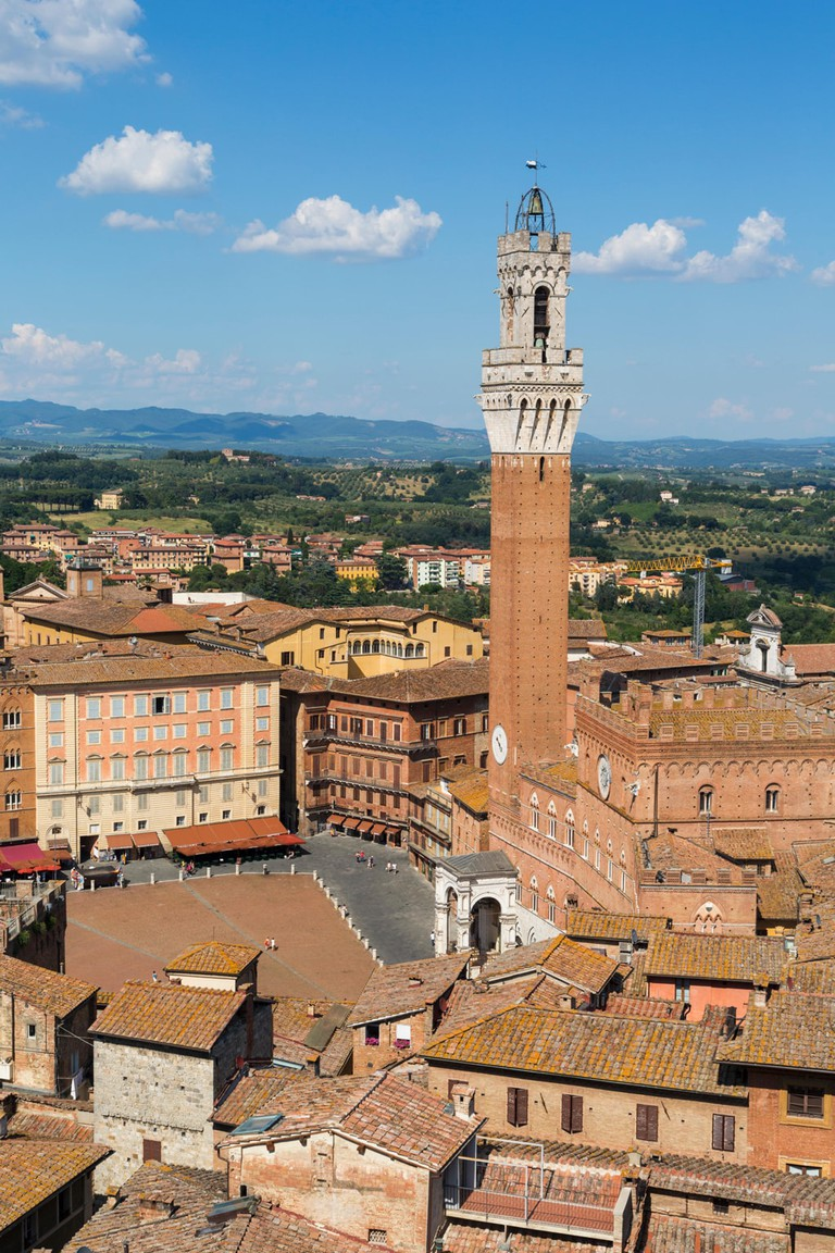 Siena, Siena Province, Tuscany, Italy. Piazza del Campo and Torre del Mangia. High view.