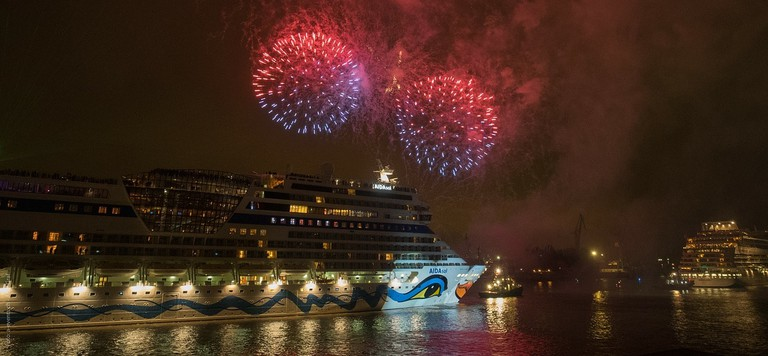 Fireworks at Hamburg Port