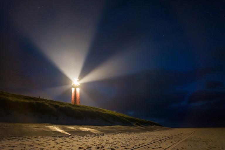Eierland Lighthouse at night