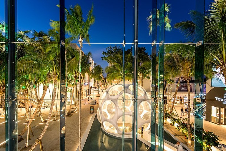 Buckminster Fuller Fly's Eye Dome in Miami Design District's Palm Court