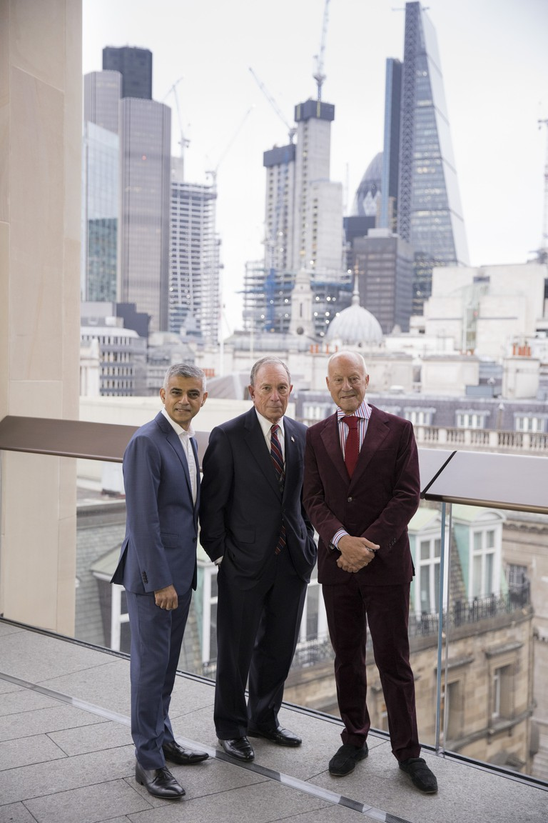 The Mayor of London, Sadiq Khan, Michael Bloomberg and Lord Foster | Courtesy of Bloomberg