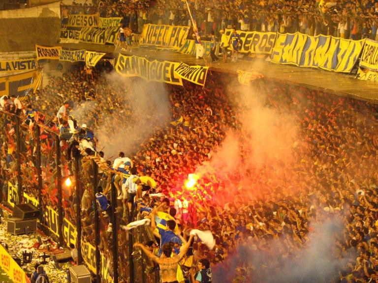 Barrabrava in the stands at a Boca Juniors match