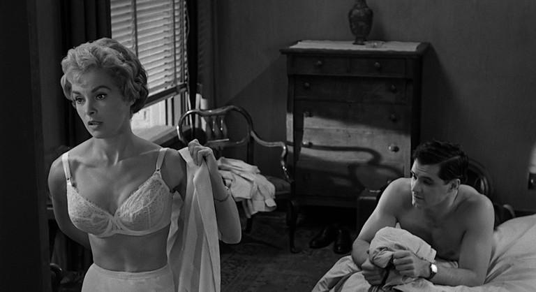 Marion Crane (Janet Leigh) and her boyfriend Sam Loomis (John Gavin) in Psycho