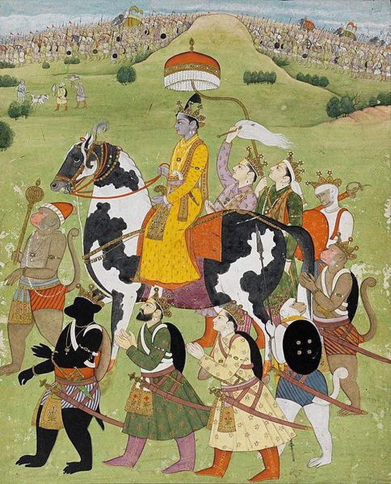 Rama_Returns_in_Victory_to_Ayodhya,_Pahari,_Kangra,_Fitzwilliam_Museum