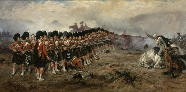 The Thin Red Line (93rd Sutherland Highlanders at Balaclava). Oil Painting by Robert Gibb