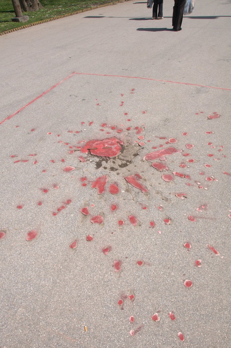 The Sarajevo Rose marks the spot someone died in the Siege of Sarajevo | © Francisco Antunes/Flickr