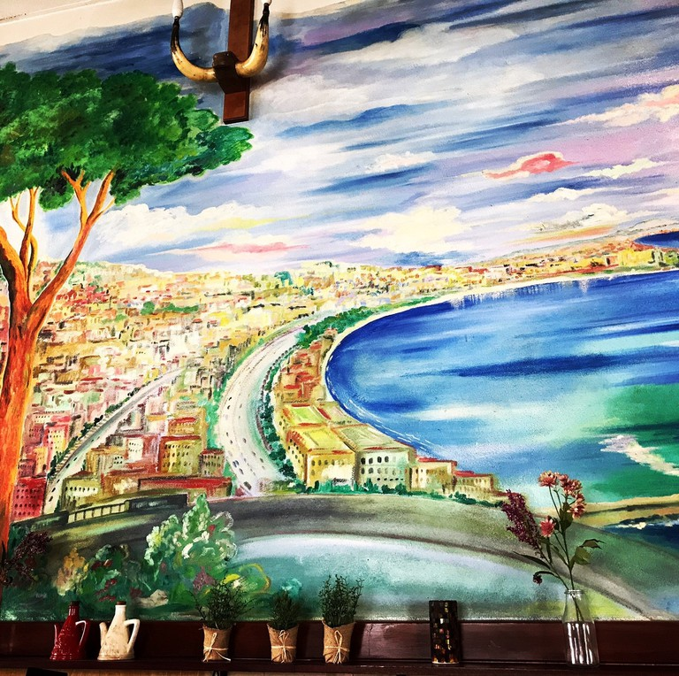 A wall dedicated to Naples at Ruocco's Pizzeria e Ristorante, image taken by Carmen Jenner
