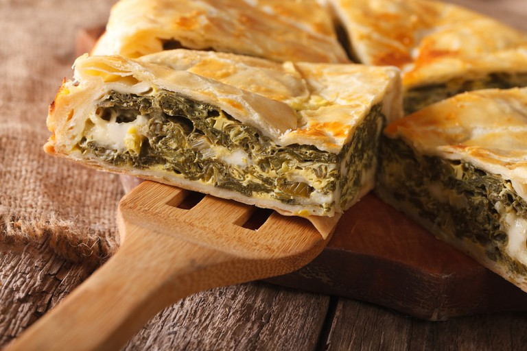 Spinach is the filling of this pie