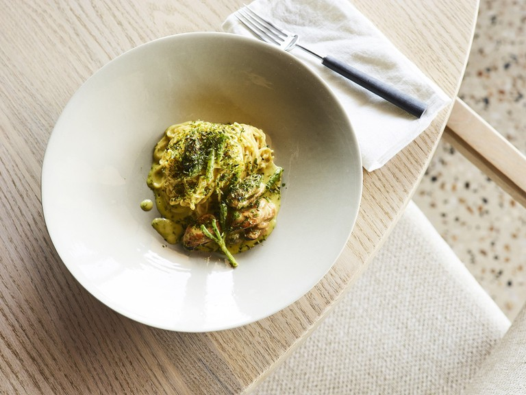 Smoked Flinders mussels, hand-made angel hair pasta - Anson Smart Photography