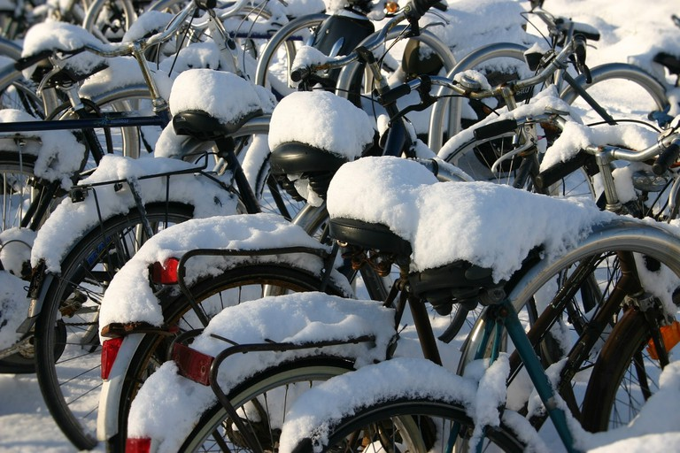 A line of bikes covered in snow