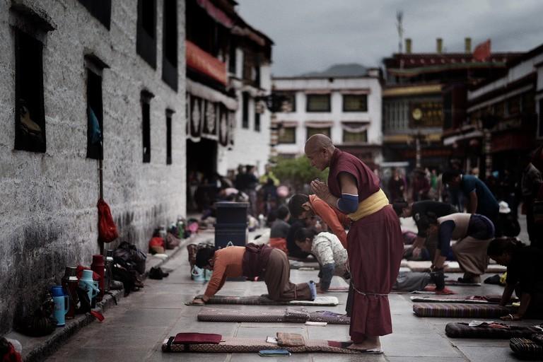 Prayers at Jokhang Temple