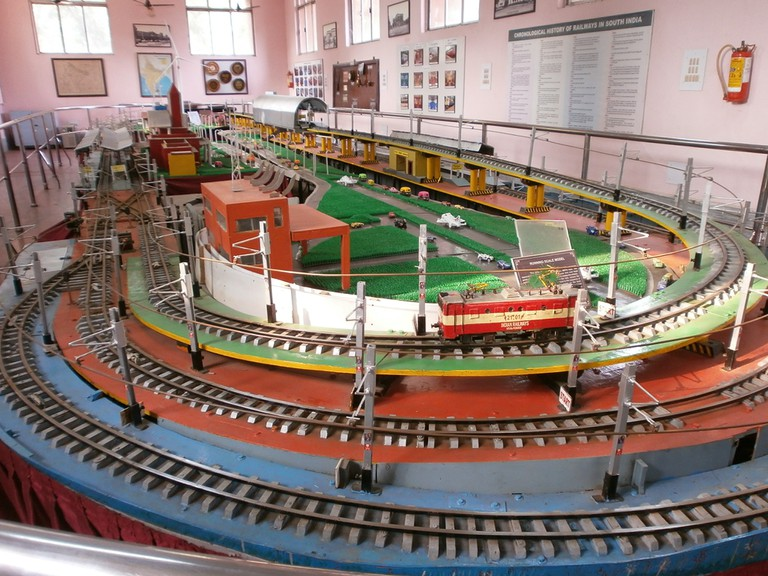 An elaborate tracks and train model on display at the Regional Railway Museum at ICF, Chennai