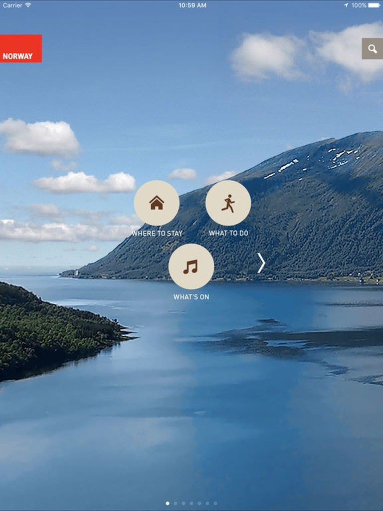 Visit Norway app screen grab for iPad