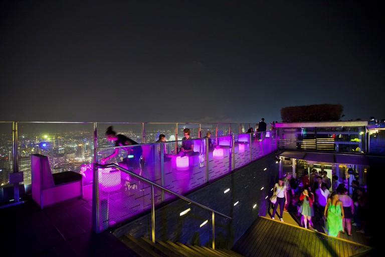 1-Altitude aerial night view of Singapore