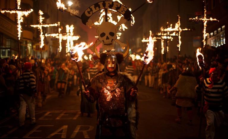 Each bonfire society dresses in costume