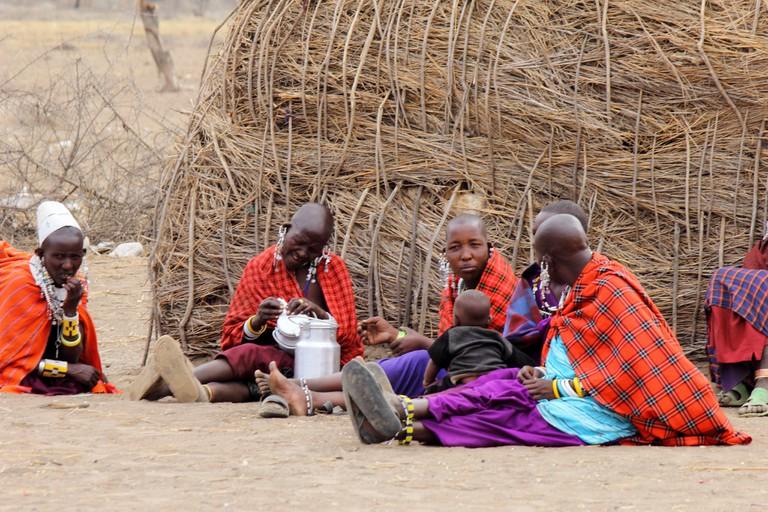 Masaai women and children