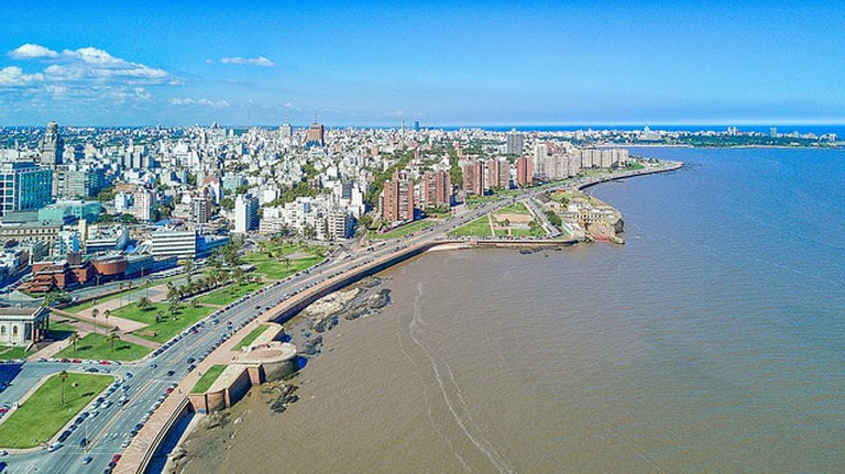 Aerial view of the promenade in Montevideo