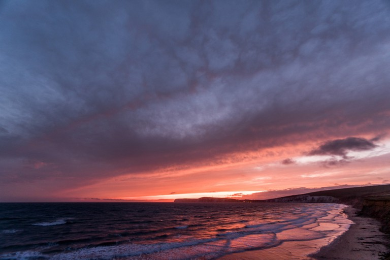 Sunset over Compton Bay, Isle of Wight