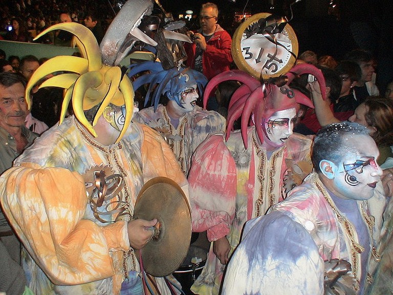 A group of Parodists dressed up in their costumes, getting ready for the show