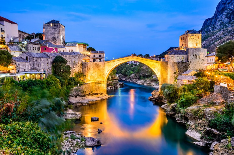 The Old Bridge, Stari Most, with emerald river Neretva   © cge2010/Shutterstock