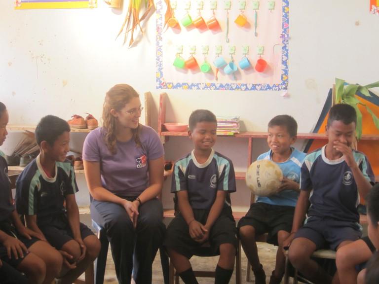 Volunteering with hill tribe children, Thailand