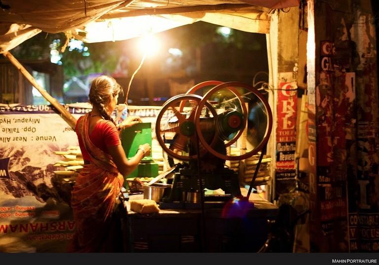 A sugarcane juice vendor