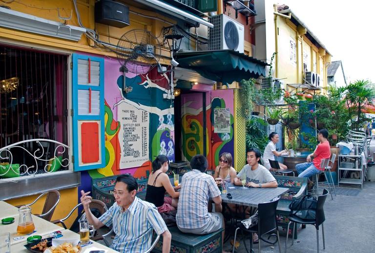 Arab Quarter Singapore Kampong Glam terrace pavement restaurant bar cafe